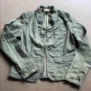 Olive Green Military Utility Jacket Sz Medium